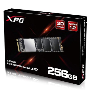 ADATA XPG SX6000 PCIe 256GB 3D NAND PCIe Gen3x2 M.2 2280 NVMe 1.2 R/W up to 1000/800MB/s Solid State Drive
