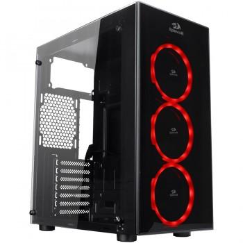 Redragon Thundercracker RGB LED Tempered Glass  ATX Gaming Chassis Black - GC-605