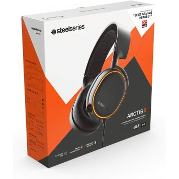 SteelSeries Arctis 5 Gaming Headset - DTS Headphone:X v2.0 7.1 Surround Sound - RGB Illuminated Earcups - for PC and PS4 - Black