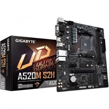 GIGABYTE A520M S2H mATX AM4 4+3 Phases Digital PWM, GIGABYTE Gaming GbE LAN, NVMe PCIe 3.0 x4 M.2, 3 Display Interfaces, Q-Flash Plus, RGB Fusion 2.0 Motherboard